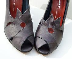 Remix Vintage Shoes, Myrna Peep Toe Heel in Grey/Black Leather