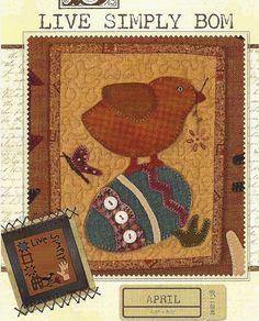 Primitive Folk Art Wool Applique Pattern  LIVE by PrimFolkArtShop, $4.95