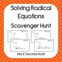 Worksheets Radical Equation Review Worksheet Match Up equation and worksheets on pinterest solving radical equations scavenger hunt