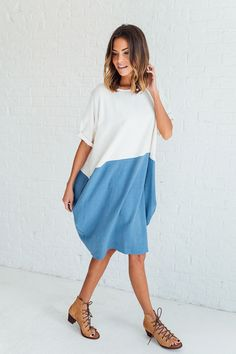 DETAILS: - Color Block linen dress - Fabric Content: 70% RAYON 30% LINEN - Model is wearing a small - Bust: S= 61 in, M= 61 in, L= 61 in - Waist: S= 61 in, M= 63 in, L= 64 in - Hip: S= 60 in, M= 60 in