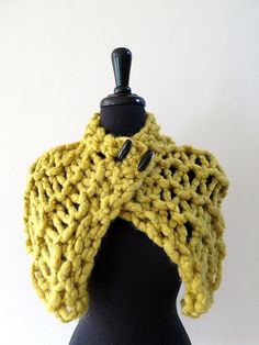 SALE  Sweet Mustard Color Knitted Roving Wool by KnitsomeStudio