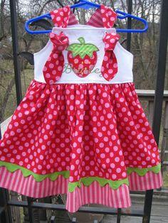red  strawberry knot dress. strawberry birthday strawberry