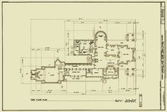 First Floor Plan : Susan Lawrence Dana-Thomas House, Springfield IL  | Frank Lloyd Wright