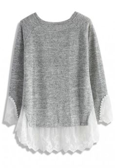 Bring a splash of lace to the party and it is a boring grey top no more! With comfy knitted fabric, a neutral grey tone and lace mesh trimmed along the hemline and cuffs—this gorgeous top may be dressed up and dressed down depending on the occasion! To give your look a little edge, consider stepping into a pair of leather leggings and black ankle strap heels! - Knitted fabric - Lace mesh trimmed on hemline and cuffs - Round neckline - 80% Acrylic, 20% polyester - Hand wash Size(cm)…