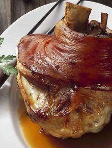 Bavarian-style pork knuckle -serve with fresh sauerkraut and apple sauce. Pork Meat, Pork Ribs, Pork Shanks Recipe, German Pork Shank Recipe, Pork Recipes, Cooking Recipes, Ham Hock Recipes, Sauerkraut Recipes, Bavarian Recipes