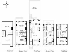 New York Brownstone Floor Plans. Modify for California by putting garage on the basement level, then floors 2-4 right above. Add a 4th floor rooftop garden.