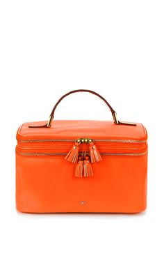 Vanity Kit In Clementine Nylon With Soft Patent by Anya Hindmarch for Preorder on Moda Operandi