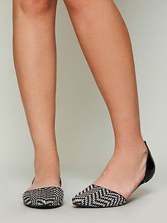 Free People Jeffrey Campbell Roulette Woven Flat  Two-tone woven leather flats with adjustable leather ankle strap and pointy toe.