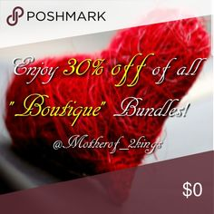 """🥂❤🎉BOUTIQUE ANNIVERSARY SALE! 🎉❤🥂 THANK YOU EVERYONE for making our Boutique a SUCCESS! 🤗 ENJOY 30% OFF on all """"Boutique"""" Bundles!   ❤Create a Bundle with at least """"1"""" Boutique Item and get 30% OFF of your Bundle price!  Voila!!!  SUPER SAVINGS!  Cheers! 🥂😘  🎈🎈NO OFFERS WILL BE ACCEPTED ON ANY BUNDLES DURING ANNIVERSARY SALE🎈🎈 Other"""