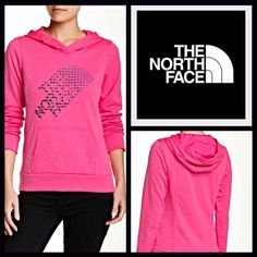 """North Face Hoodie Pullover  NEW WITH TAGS   THE NORTH FACE Retail Price: $ 55 Sweatshirt Hoodie Pullover   * Super soft & comfy fabric.   * A longer length; It measures about 28.5"""" long for L.   * Attached hood, front kangaroo pockets, & long sleeves w/banded cuffs.  * Graphic print on front.   * A pullover style.     Fabric: Cotton-Polyester blend Color: Pink Heather    Item:   No Trades ✅ Offers Considered*✅  *Please use the blue 'offer' button to submit an offer. North Face Sweaters"""
