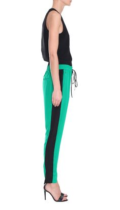 Still loving the silk track pant look. Silk color block pants from Tibi.