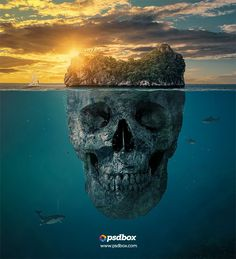 Create a misterious skull island in Photoshop. Photoshop CC manipulation tutorial