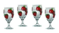 ArtisanStreet's Set of 4 Hand Painted Water Glasses with Apple Design. Signed by Artisan by ArtisanStreet. $80.00. Individually hand painted & made to order & signed by artisan. Glasses measure 7 inches tall. Wonderful housewarming gift or buy for yourself. Set of 4 apple design water glasses. Dishwasher safe but hand washing recommended. Set of 4 water glasses featuring bright red apple design, each topped with a green leaf stem. Matching coasters are also ava...
