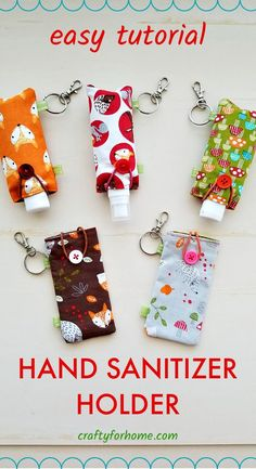 This sewing tutorial is a quick 10 minutes crafts to make an easy DIY fabric hand sanitizer holder from any fabric scraps or charm pack.
