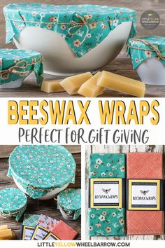 These beeswax wraps take no time at all to create and make a great alternative to plastic wrap. No fancy or hard to find ingredients, just these two simple items and you're ready to make your own. These make great gifts and we've included a free beeswax wrap package label for download! #beeswax #natural #diygifts #plasticfreekitchen #diyprojects #craftideas