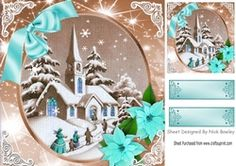Lovely snow scene of a church with turq poinsettias 8x8 on Craftsuprint - View Now!