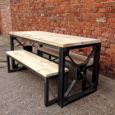 Industrial Steampunk Reclaimed Wood Dining Table and Benches