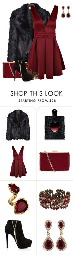 """""""My Bloody Valentine"""" by kylen91 ❤ liked on Polyvore featuring Whistles, Yves Saint Laurent, Boohoo, MICHAEL Michael Kors, Oscar de la Renta, Sweet Romance, Forever New and Effy Jewelry"""