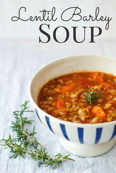 Lentil Barley Soup {Vegan} - The Wholesome Fork - souprecipes Lentil Recipes, Soup Recipes, Vegetarian Recipes, Cooking Recipes, Healthy Recipes, Barley Recipes, Healthy Soups, Cooking Bacon, Vegetarian Soup
