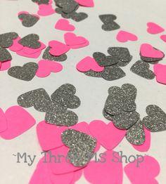 Paper Confetti hot pink and silver glitter confetti party decor bridal shower…