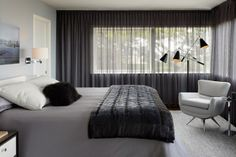 Love the grey rug under the bed on the wooden floor. Designer Crush Q&A: Geoffrey De Sousa | California Home + Design