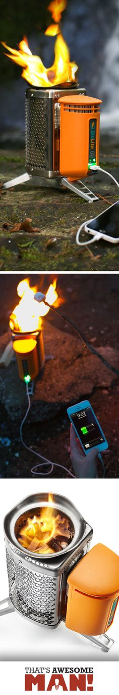 This compact little camping stove not only burns great, but also lets you charge your devices!  Check it out at http://thatsawesomeman.com