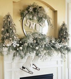 After Christmas mantel