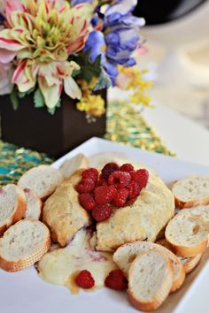 Raspberry baked brie, using new Smucker's Fruit & Honey Fruit Spread!