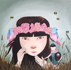 "Saatchi Art Artist ivana flores; Painting, ""smelling the garden"" #art"