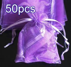 50pcs Lilac Purple Drawstring Organza Gift Bag Pouch 7x9cm (2.7x3.5inch) Solid Color for Wedding Xmas New Year Birthday Party by AnneJewelryAcc, $4.85