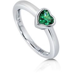 BERRICLE Sterling Silver Simulated Emerald CZ Solitaire Heart... ($45) ❤ liked on Polyvore featuring jewelry, rings, emerald, women's accessories, cubic zirconia wedding rings, fake engagement rings, heart engagement rings, sterling silver band rings and cz wedding rings