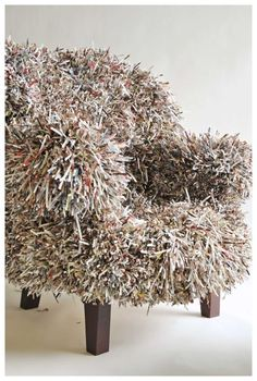 David Stark Sketchbook: Waste Not, Want Not . . . (Oops – I mean definitely WANT!) 900 retired West Elm catalogues were utilized to make the chair, ottoman, topiary, and lamp.