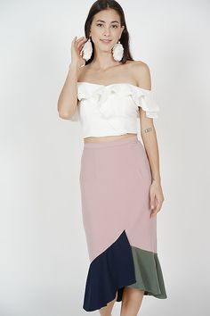 59e19f69bbb1 Colour-Block Mermaid Skirt in Pink   MDS Colour Block, Color Blocking,  Mermaid