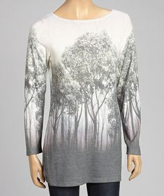 White & Gray Tree Boatneck Tunic - regularly $70, Zulily price $26.99 1/06/2014 - So many graphic tees have abrupt color changes and/or the graphic focuses attention on the wearer's breasts and/or the sleeves are completely plain. This tee is in wonderful, subtle colors which blend well - almost like ombre, and the design is continued on the sleeves. No attention drawn to the breast area. Love the rounded tree top nearing the neckline!