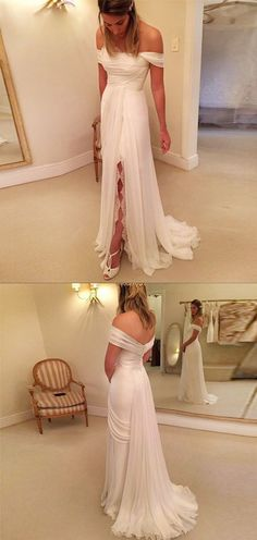 A-Line Off-the-Shoulder Long Chiffon Beach Wedding Dress with Lace Split #weddingdress