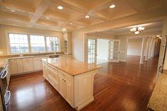 Gourmet Kitchen, Custom Kitchen, Coffered Ceiling, Breakfast Room, Interior Columns, Recessed Lighting, Custom Built by Foreman Builders.