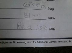 Check out this funny photo of a kid's homework fail where he fills in the blank with 'Red Solo Cup', on NickMom.com!