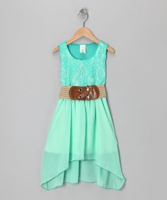 Mint Chiffon Lace Dress-LOVE this with a different belt!