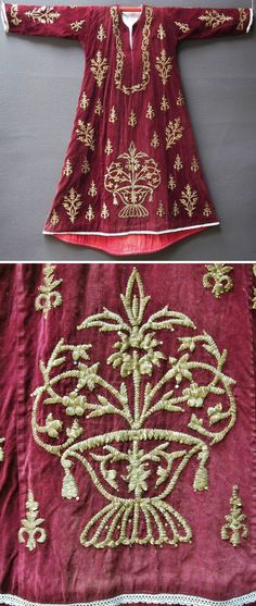 Front of a traditional festive/ceremonial robe in late-Ottoman style, called 'bindallı entari' (= robe, adorned with goldwork in 'Maraş işi' technique). With a close-up of the largest motif. From Central Anatolia, ca. 1925. Golden metal thread and metallic sequins on velvet. Purchased in Ankara, in 1994. (Inv.n° bin002 - Kavak Costume Collection -Antwerpen/Belgium).