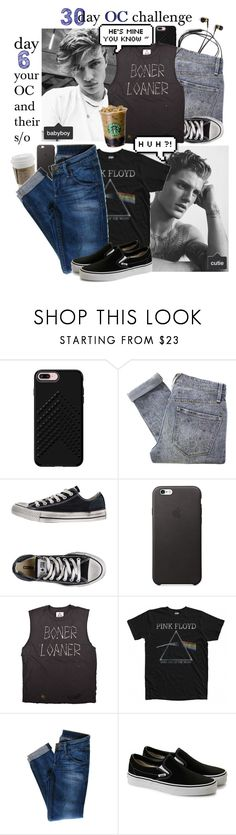 """Day 6 - Your OC and their significant other"" by freezespell ❤ liked on Polyvore featuring Rebecca Minkoff, Marc by Marc Jacobs, Converse, Floyd, Hudson Jeans, men's fashion and menswear"