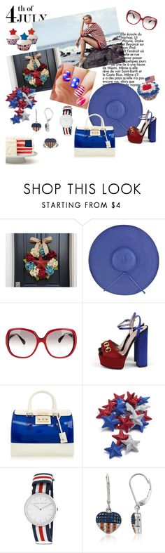 """Red White & Blue"" by metropulse ❤ liked on Polyvore featuring Lands' End, Diane Von Furstenberg, Gucci, Furla, Sur La Table and Laura Ashley"