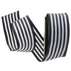 "Black & White 1 1/2"" Striped Wired Edge Ribbon"
