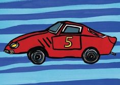 """A speedy red race car stars in this kids wall art, poised on a bright blue background waiting for """"go time"""". Boys love cars, it's as simple as that. Hang car themed artwork for kids rooms to make them say, """"Vroom!"""""""