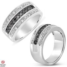 Ebay NissoniJewelry presents - Mens Black and White Three Row Diamond Ring Sterling Silver with Satin 3/8CT    Model Number:GR9571G-SI55BK    http://www.ebay.com/itm/Mens-Black-and-White-Three-Row-Diamond-Ring-Sterling-Silver-with-Satin-3-8CT/321611849819