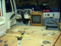 Motorhome - Sorry it's blurry - removed seats and old carpet from living room floor - almost ready to lay new wood laminate!