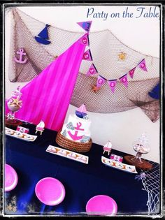 Saida D's Birthday / Nautical Girl - Photo Gallery at Catch My Party Nautical Birthday Girls, Nautical Party, Baby 1st Birthday, First Birthday Parties, First Birthdays, Birthday Ideas, Anchor Baby Showers, Sailor Party, Party Ideas