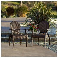 Adriana Set Of 2 Wicker Patio Chairs   Brown   Christopher Knight Home