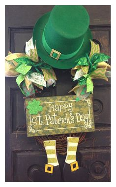 St Patrick's day  Hat and grapevine wreath by HolidayDressings, $75.00