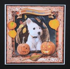 Happy Halloween Puppy 8x8 CF on Craftsuprint designed by Maria Christina Vieira  - made by Marion Kimberley-Scott - Printed and cut out design pieces. Main design was mounted onto black card with DST and trimmed to leave a narrow border, before securing to front of white base card with DST. Decoupage pieces were added using foam pads. A really nice card - love the dog - which is quick and easy to make. - Now available for download!