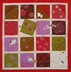 Small Size Red Cotton 'Playful Cats' Furoshiki by kyotocollection, $8.00